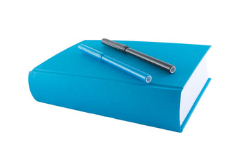 blue book and markers