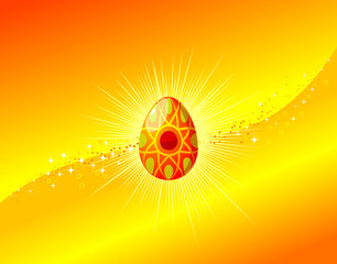 Easter egg background with ornament, vector illustration