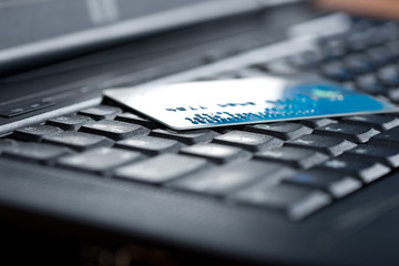 credit card on a computer