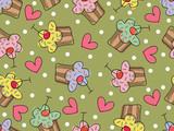 i love cupcakes (vector) - seamless tile pattern