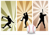 Vector Baseball Players. Easy change colors.  poster