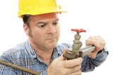 Construction Plumber Closeup poster