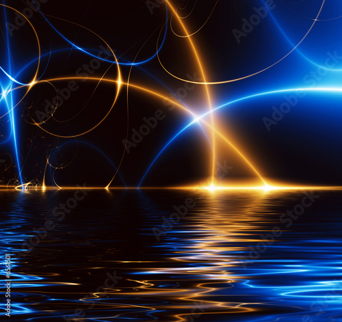 canvas print picture Dance of Lights in the dark, fractal 02FX3w