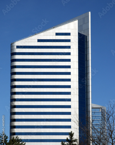 Modern stainless steel office building with point