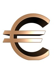 Gold euro on a white background