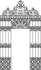 vector image of a wrought iron gate