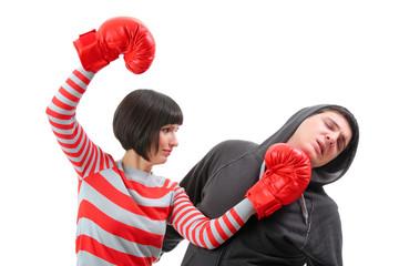 Fight between girlfriend and boyfriend