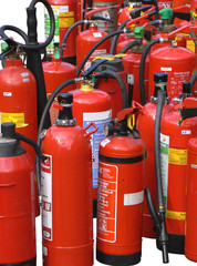 red fire extinguishers