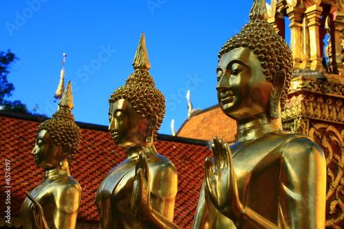 Poster Statues de Bouddha sur ciel bleu