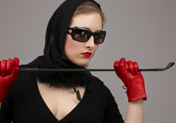 lady in red gloves with crop #2