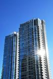 Modern condominium complex poster