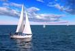 Leinwanddruck Bild - Sailboats at sea