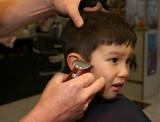 Little boy getting haircut poster