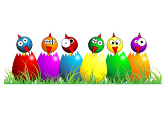 Easter chicks with different fcolors and positions over white