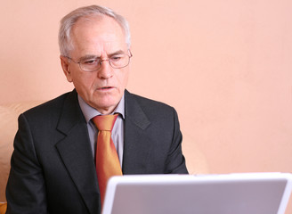 Senior businessman looking at the screen of a laptop