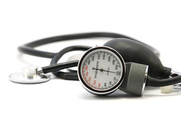 sphygmomanometr and stethoscope