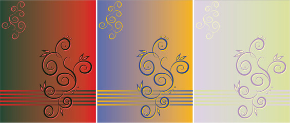 Three variants of a pattern on a original background