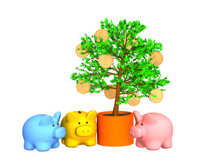 Three pigs of a coin box, worth around of a gold-bearing tree