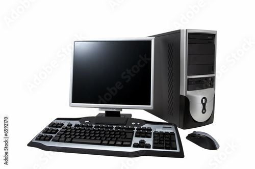 desktop computer with lcd monitor, keyboard and mouse, isolated