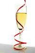 Champagne glass with a red around it on white