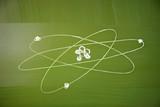Atomic structure sketch on school blackboard poster