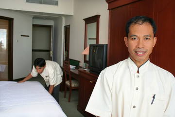 room boy or housekeeping hotel at work