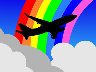 plane taking off with rainbow