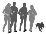 two couples with dog jogging