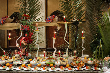 decorated tables with fruit in smorgasbord restaurant