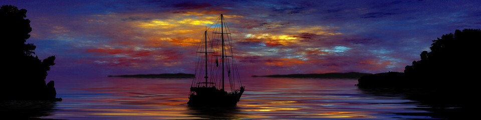 Illustration of a ship sailing in Parga Greece at sunset