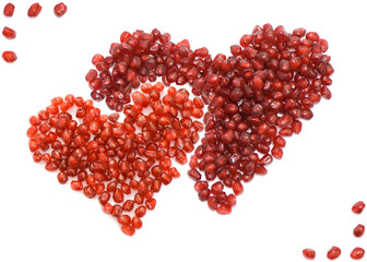 two hearts red pomegranate