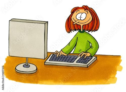 Illustration: Business Comics Nummer 1 - Frau vor Computer