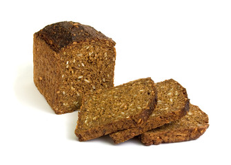 Sliced whole-grain dark bread