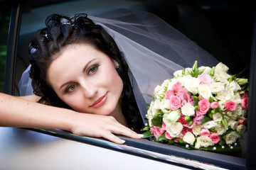portrait in the wedding car