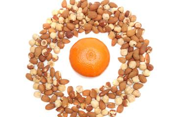 mandarin in center of nuts ring