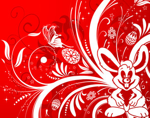 Easter background with ornament eggs, rabbit, flower
