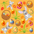 Easter pattern with ornament eggs, rabbit, basket, grass