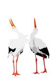 stork pair mutual bill-clattering illustration poster