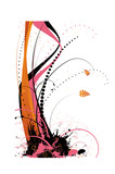 Flowing floral design in contrasting pink and orange colours poster