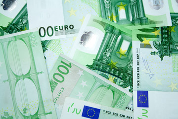 100 euros green banknotes background