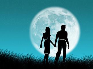 Coppia nella luna
