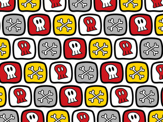 cartoon skulls and bones pattern (vector)