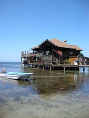 Dinning in the water in Roatan, Honduras