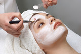 beauty salon series, facial mask applying poster