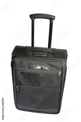 Modern black travelling trank on white background