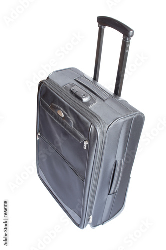 Modern gray travelling trank on white background