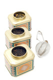 tea boxes with tea strainer
