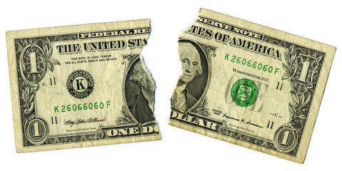 Ripped dollar bill  Economy Concept Image