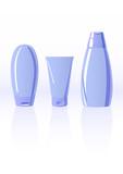 Vector illustration of three shampoo bottles poster