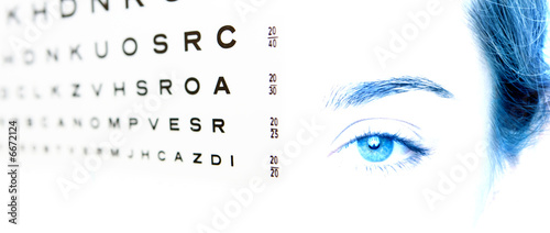 eye chart test A in focus and the eye 20-20